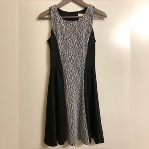 Black & White Printed A-Line Dress